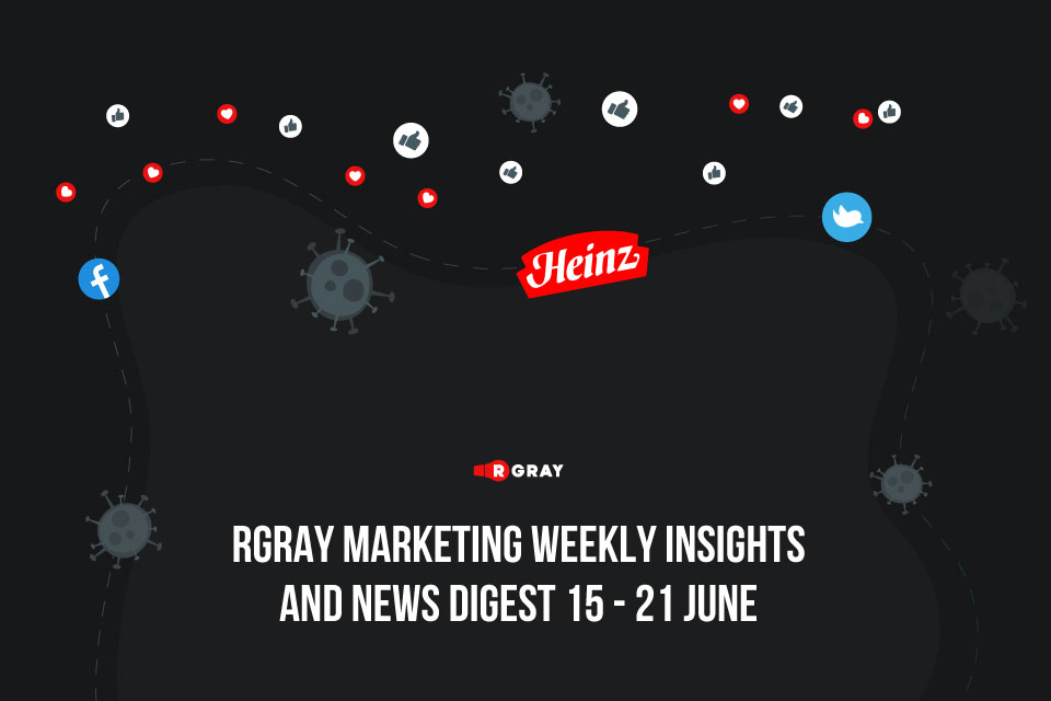 Awesome Twitter update, 11kk Facebook Video Study, Kraft Heinz making t-shirts, and coronavirus made malls empty. RGray Marketing Weekly Insights and News Digest (15 - 21 June)