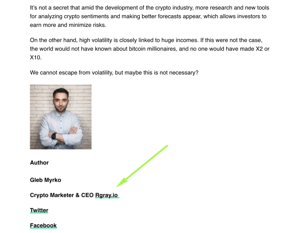 Here is an example of how we insert a link to our website in the author bio while performing guest posting for one of our clients