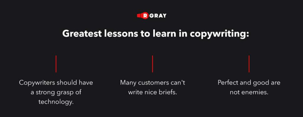 Lessons learned from a year of copywriting