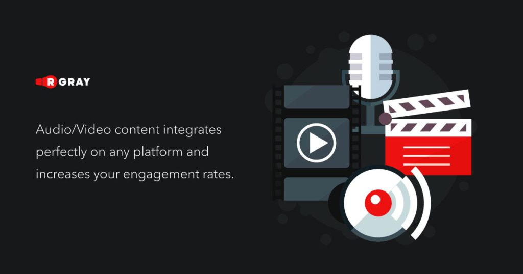 audio video content integrates perfectly on any platform and increases your engagement rates
