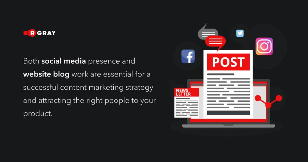 both social media presence and website blog work are essential for a successful content marketing strategy and attracting the right people to your product