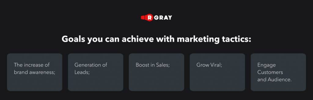 goals you can achive with marketing tactics