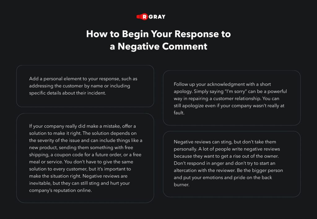 response to a negative comment