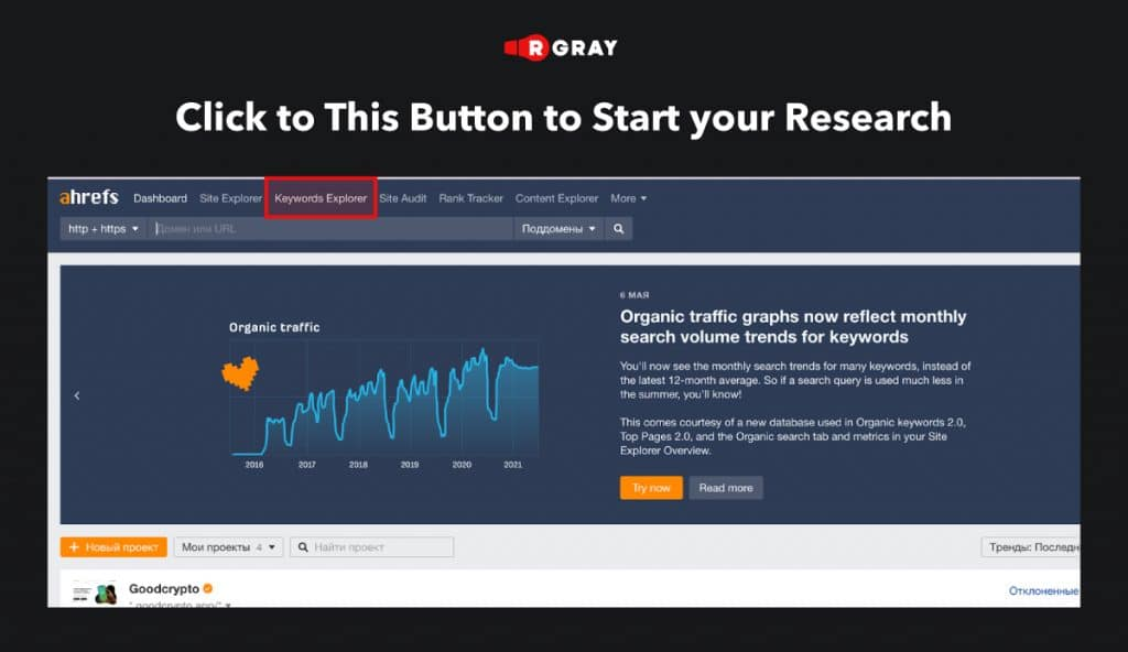 Keywords Research in Ahrefs